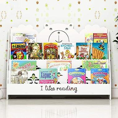 Bookcases Children's Bookshelf Cute Cartoon Children's Bookshelf, Stylish Solid Wood Floor Bookshelf Kindergarten Chi