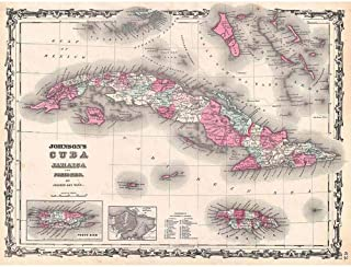 Wee Blue Coo 1862 Johnson Map Cuba and Porto Rico Vintage Unframed Wall Art Print Poster Home Decor Premium