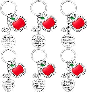 Teacher Gifts for Women - 6PCS Teacher Keychain Teacher Appreciation Gifts, Thank You Gifts for Teachers, Birthday Valenti...