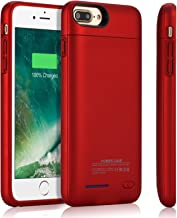 Battery Case for iPhone 8 Plus/7 Plus, TAYUZH 4200 mAh Slim Portable Rechargeable Charging Case Compatible for iPhone 8 Plus/7 Plus/6 Plus(5.5 Inch) Protective Extended Magnetic Battery Case - Red