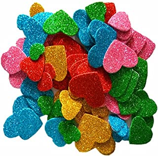 Minibaby EVA Glitter Foam Stickers,Assorted Love Heart,Self Adhesive Foam Shapes Craft Cute Sticker Random Color 100pcs
