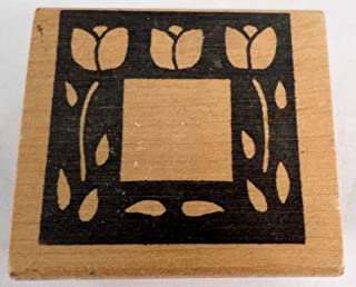 Imagine That E-096 Tulip Square Thumbnail Frame Vintage Wooden Rubber Stamp
