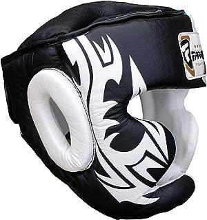 FARABI Boxning huvudskydd säkerhetshjälm MMA training Pro hela ansiktet, kindskydd äkta läder huvudbonad