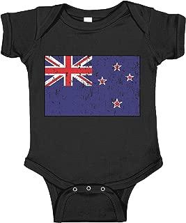 Half New Zealand Flag Half USA Flag Love Heart Baby Rompers Short Sleeve Infant Cotton Bodysuits Jumpsuit