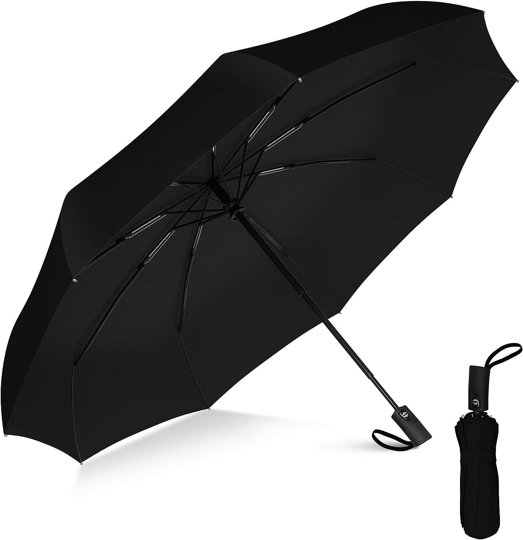 Rain-Mate Compact Travel Umbrella - Pocket Portable Folding Windproof Mini Umbrella - Auto Open and Close Button and 9 Rib Reinforced Canopy (Black)