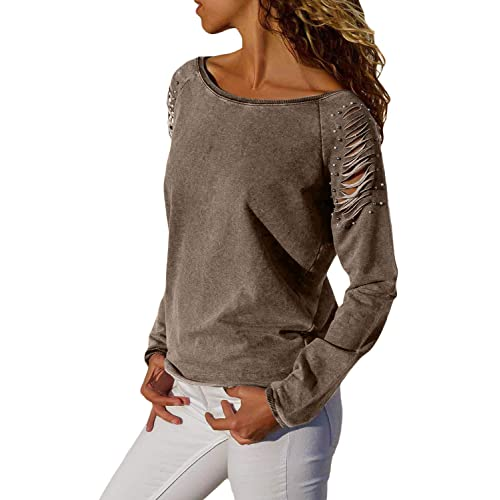 4d1922d5f22e19 Asvivid Womens Casual Strappy Cold Shoulder Long Sleeve T-Shirt Tops  Blouses with Pearl Beaded