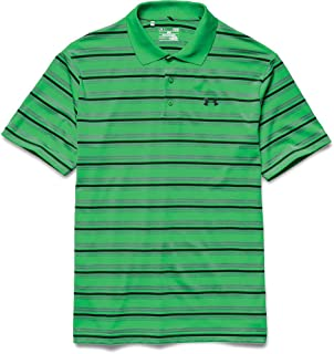 Under Armour Mens Grey/Black Stripped Polo