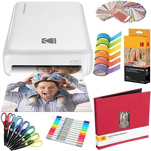 discount Kodak Mini2 Instant Photo Printer (White) Art Bundle + Paper (20 Sheets) outlet sale 2021 + 8x8 Cloth Scrapbook + 12 Twin Tip Markers + 100 Border Stickers + 6 Decorative Scissors + Washi Tape sale