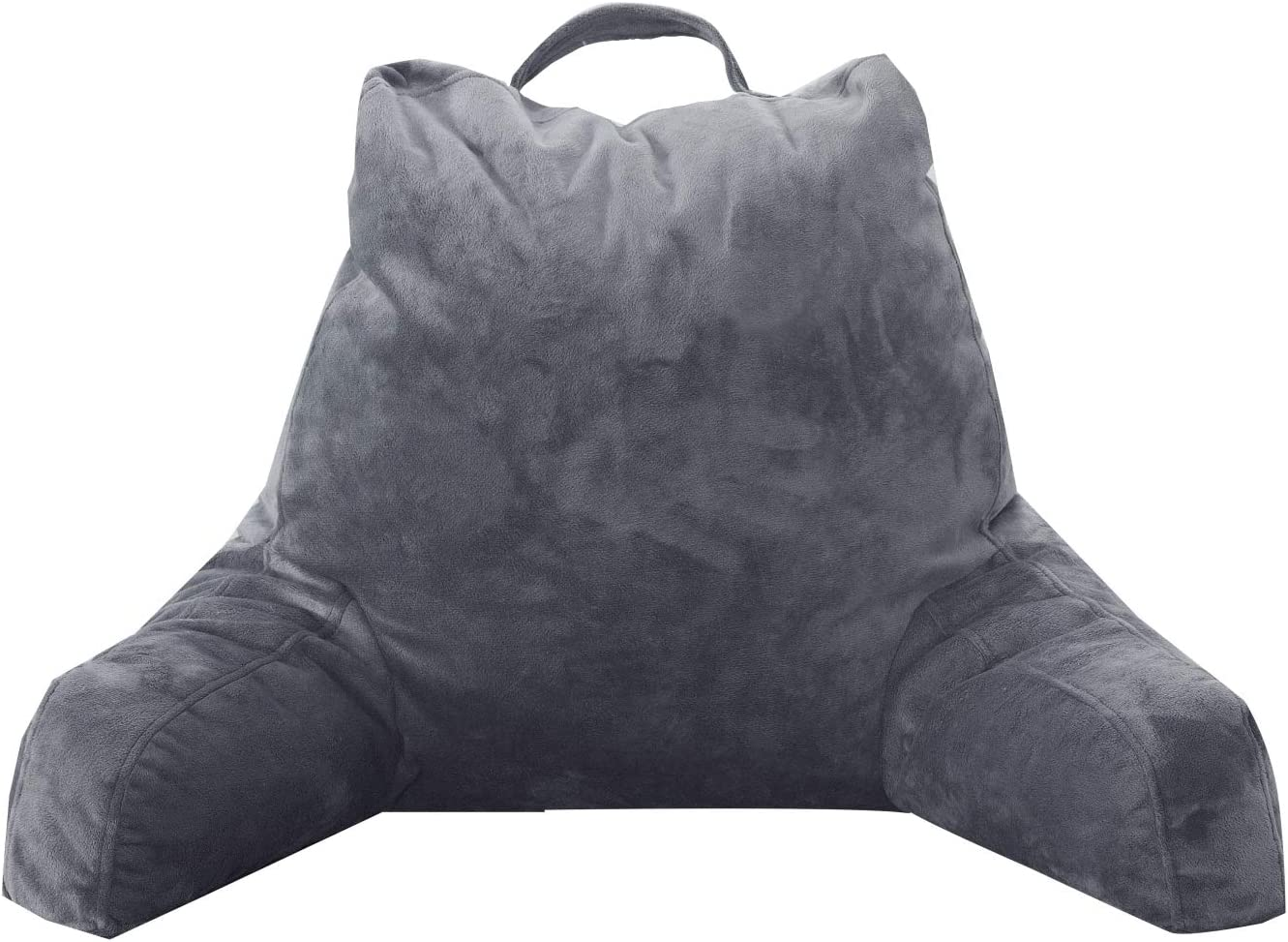 FASO Reading Pillow with Arms for Sitting in Bed,Adult Back Support for Bed with arms,Backrest Lounge Cushion with Pockets for Reading/Watching TV-18inch(Gray) : Home & Kitchen
