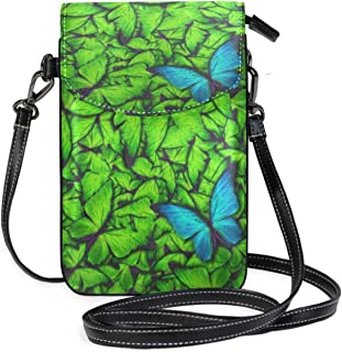 Women Small Crossbody Shoulder BagBeautiful Butterfly IsolatedLeather Cell Phone Purse Handbags