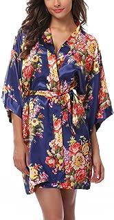 Floral Satin Kimono Short Style Bridesmaids Robes for Women