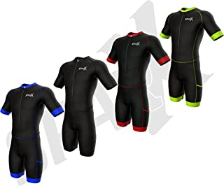Sparx Men's Competitor Triathlon Race Suit | Short Sleeve Aero Tri Suit | Men Triathlon Suit | Triathlon Race Suit | Skinsuit | Trisuit | Swim-Bike-Run