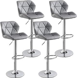 Cozy Castle Adjustable Barstools, Set of 4, Stool Chair, Diamond Stitched Pattern, PU Leather Adjustable Bar Stools (Grey)