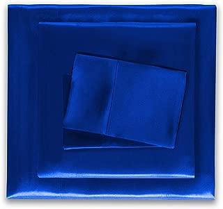 HONEYMOON HOME FASHIONS Satin Sheets Queen 4 Pieces Blue