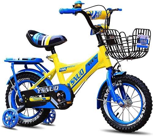 compras de moda online Bicicletas para Niños Niños Niños con ruedas auxiliares iluminadas, triciclo con pedales para Niños y niñas, bicicletas para Niños de 2 a 11 años, bicicleta de Montaña con cuadro de acero de alto carbono con cest  ventas en linea