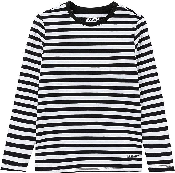 ATLANHAWK Unisex Kids Long Sleeve T Shirts Soft Cotton Crewneck T Shirt Novelty Striped T-Shirts for Boys and Girls