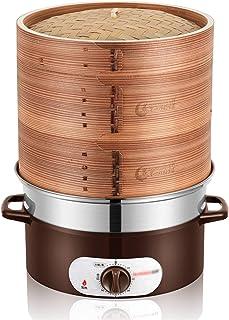 SSMDYLYM Pot à Vapeur en Bambou Naturel de 28 cm 3 Couches épaissir cuiseur chaudière Anti-Sec Vapeur électrique Base en A...