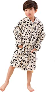 KAIXLIONLY Kids Robes,Hooded Bathrobe for Girls and Boys, Unisex Pajamas,Shower Spa Bath Sleepwear with Pockets