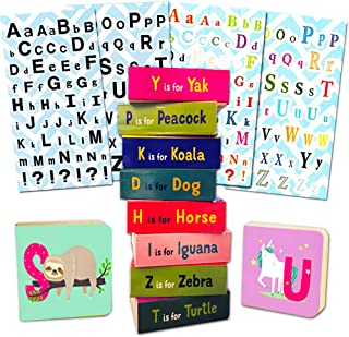 ABC Book Blocks Board Book Set For Toddlers Babies -- 25 Stackable Mini Chunky Board Books with Alphabet Stickers