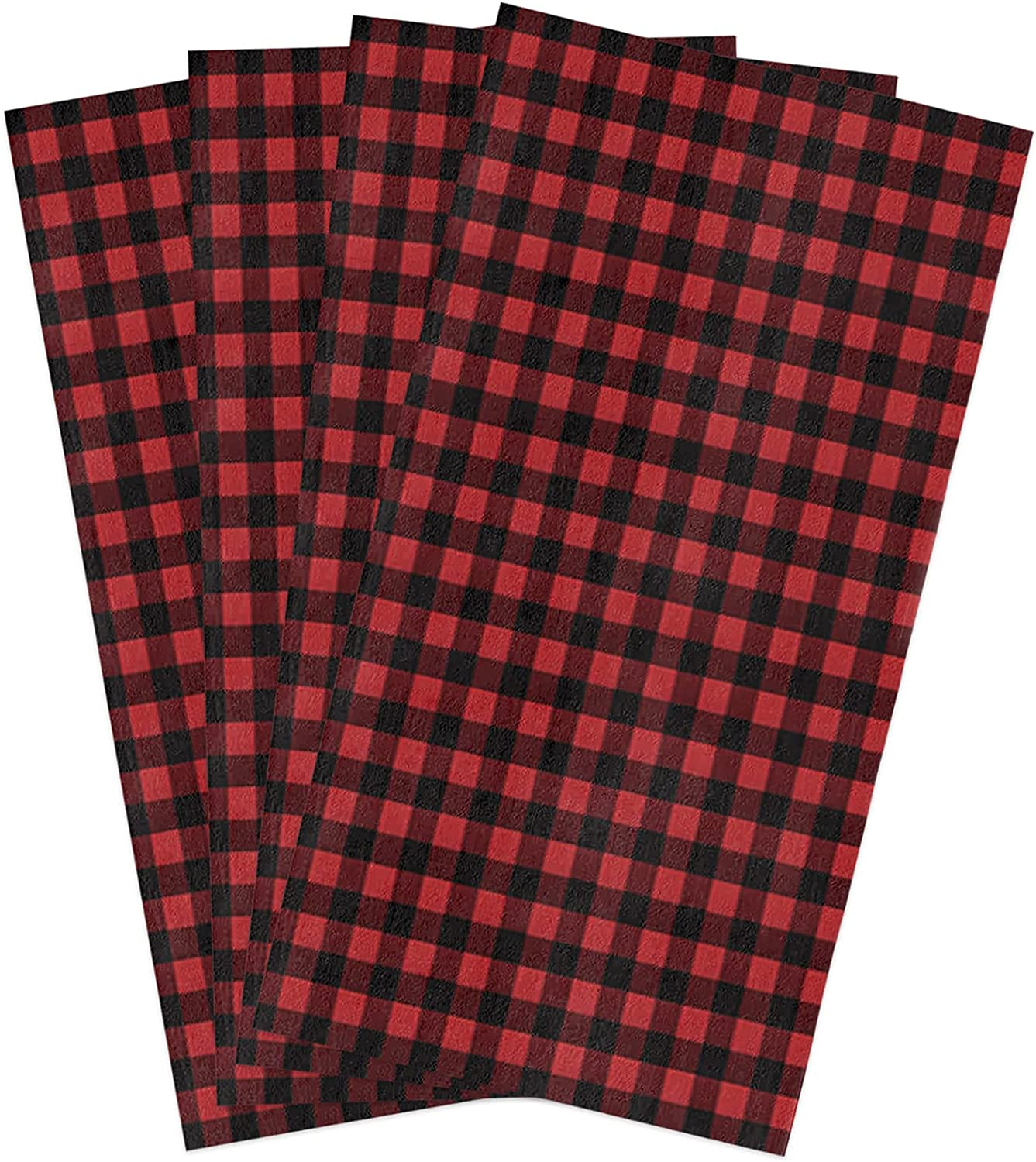 Limited time cheap sale GladiDroom sale 4 Pack Absorbent Kitchen Rustic Black Towels Dish Red