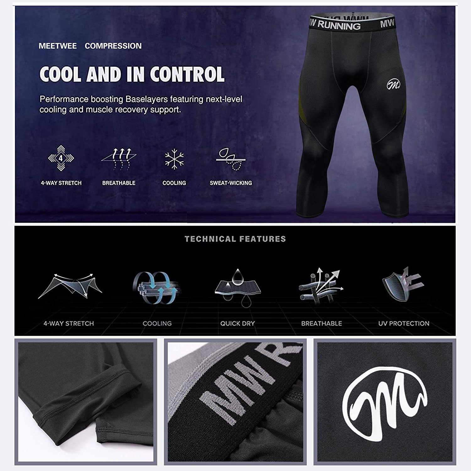 Running Tights Sports Pants Cool Dry Base Layer Bottom for Workout Training Jogging MEETWEE Men/'s Compression Leggings 3//4
