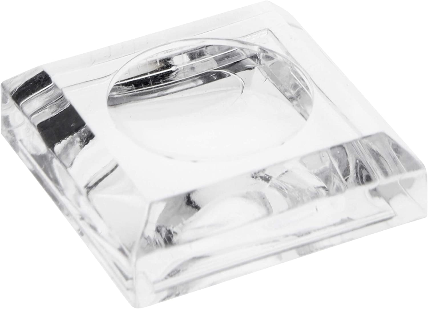 0.375 H x 1.25 W x 1.25 D Plymor Clear Acrylic Square Display Base with Indented Circle to Hold Egg Ball or Sphere Marble 0.75 Circle