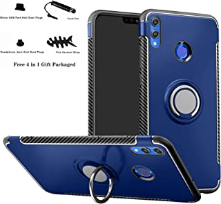 Honor 8X case,Labanema Hybrid Dual Layer 360 Degree Rotation Ring Holder Kickstand Armor Slim Protective Cover for Huawei Honor 8X - Dark Blue