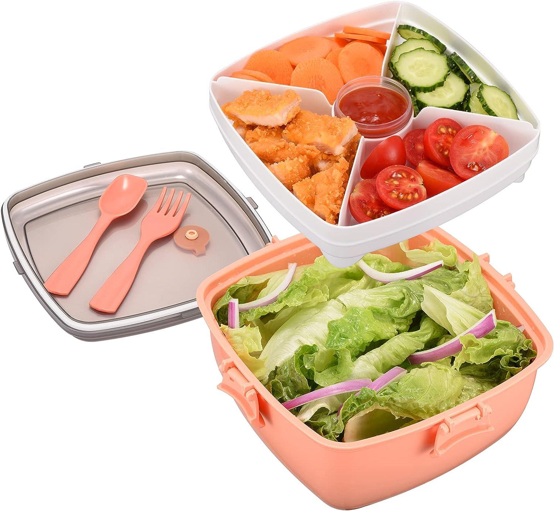 Fiambrera para ensaladas sin BPA con tazón de 52 onzas, 4 bandejas para separar ensaladas y refrigerios, recipiente para condimentos de 2 onzas y tenedor reutilizable incorporado (rosa)