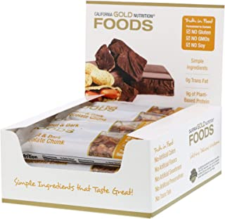 California Gold Nutrition Gold Bar Peanut Dark Chocolate Chunk 12 Bars 1 4 oz 40 g Each, Milk-Free, Egg-Free, Fish-Free, G...