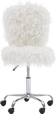 Linon Cora Faux Flokati Armless Office Chair, White