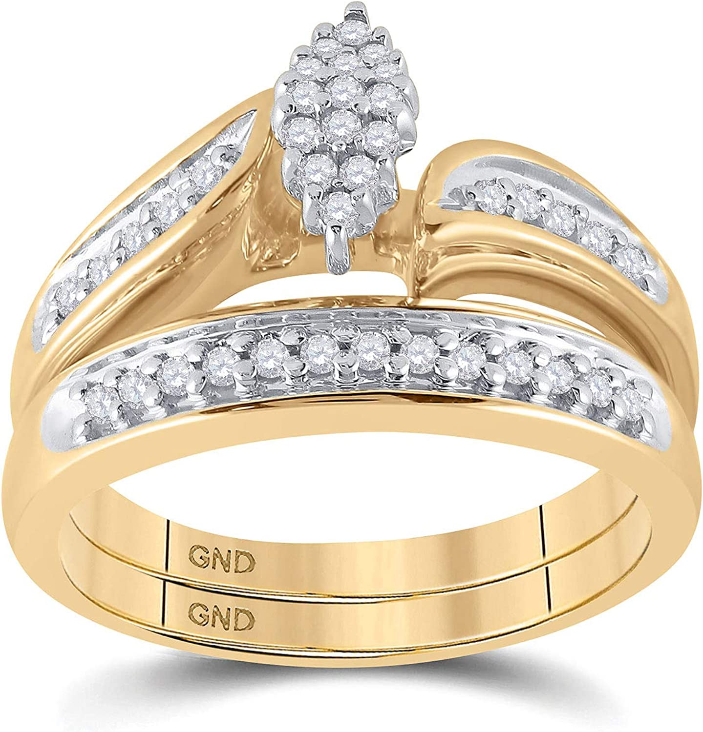 10kt Yellow Gold Tampa Mall Round It is very popular Diamond Bridal Set Wedding Ring 1 Band 4