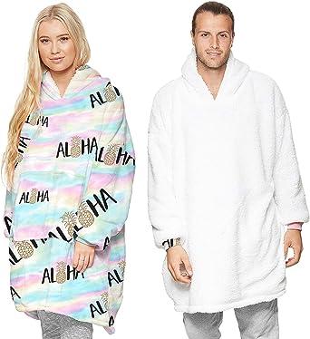 SumaidaAU Wearable Blanket Sweatshirt Hoodie for Women and Men Girl Boy Oversized Double Fleece Plush Cartoon Hooded Top with Warm Front Pocket
