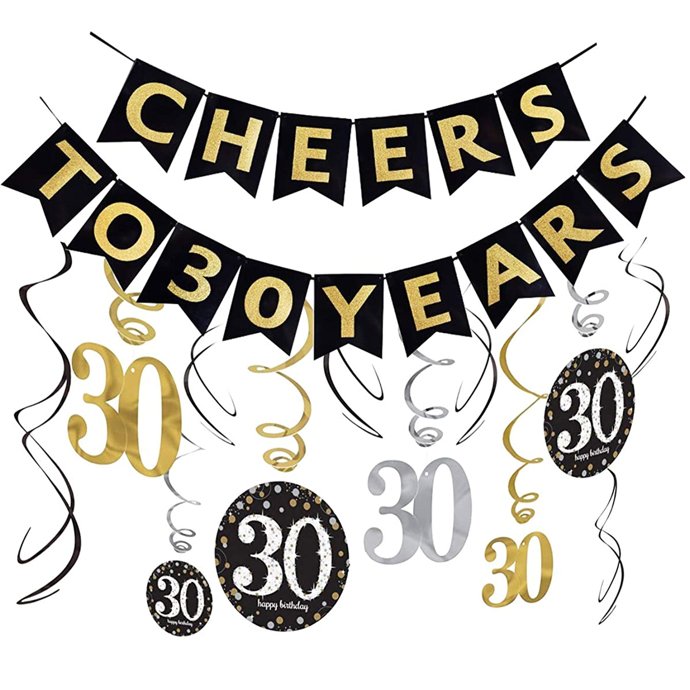 30th Birthday Decorations Kit(Already Assembled) Cheers to 30 Years Banner Bunting,Sparkling Celebration Hanging Swirls,Gold Silver Black 30 Years Old Party Supplies,30th Happy Birthday Decorations