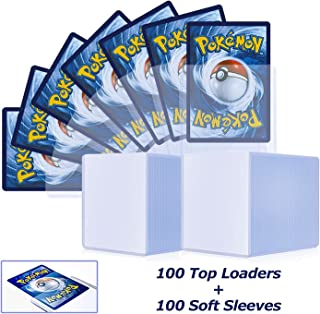 200 Counts Top loaders Trading Card Sleeves,100 Toploader and 100 Penny Sleeves, Card Protectors Fit for Pokemon, MTG, YuG...