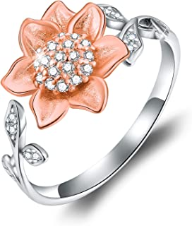 18K Gold Plating 925 Sterling Silver Sunflower Open Ring 3D Flower Shape Adjustable Ring Jewelry for Women and Girls