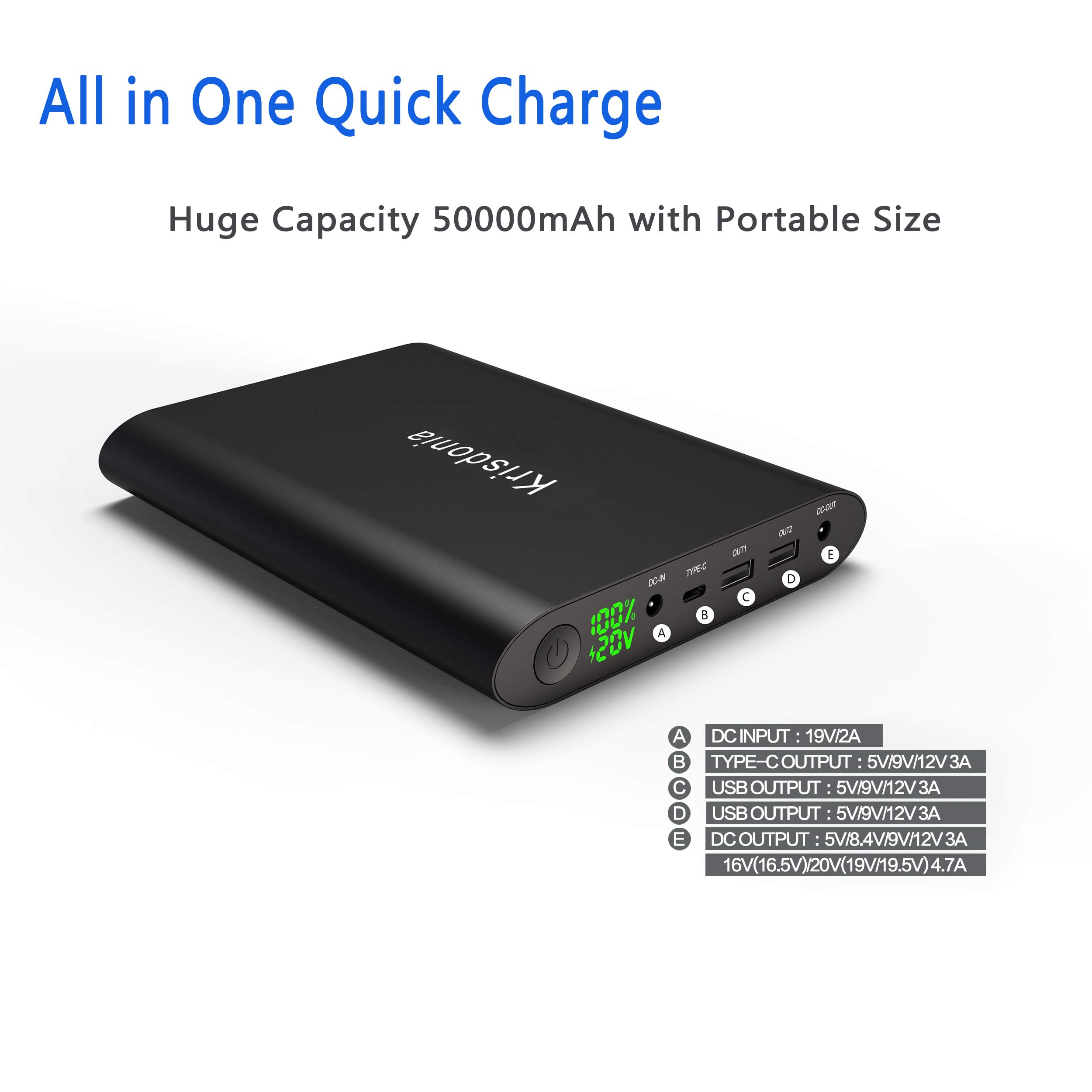 Krisdonia 50000mah Power Pack Batería Externa Cargador Portátil ...