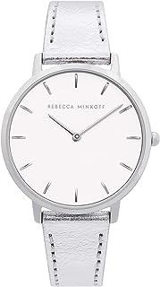 Rebecca Minkoff Women's Stainless Steel Quartz Watch with Leather Calfskin Strap, Silver, 16 (Model: 2200365)