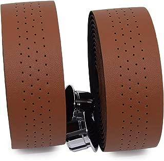 KINGOU Handlebar Tape Luxury PU Leather Bar Tape Fixed Gear/Road Bike Bar Wrap with 2 Reflective Plug