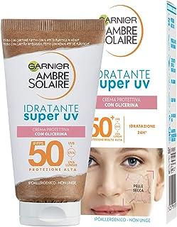 Garnier Ambre Solaire Super UV, Crema Viso Protettiva ad Azione Idratante, SPF 50+, Protezione Molto Alta, Arricchita con ...