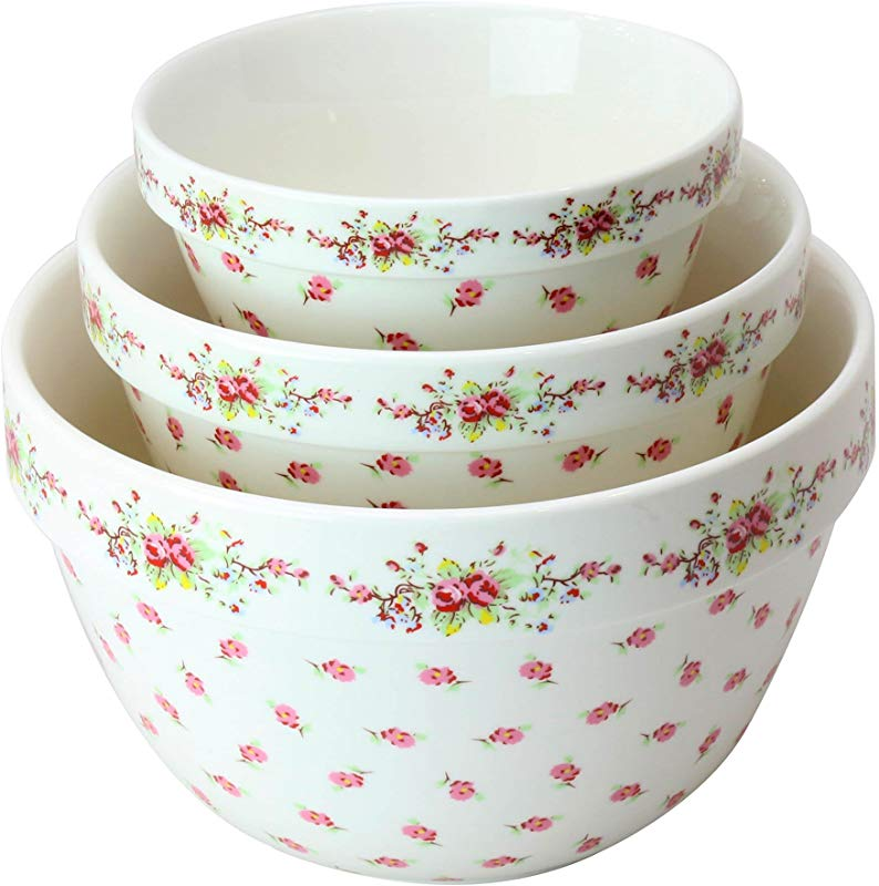 Pantry Size 3 Pc Nested Porcelain Mixing Bowl Set By Grace Teaware Microwave Safe Freezer Safe 3 Sizes 42 22 And 10 Ounce Vintage Rose