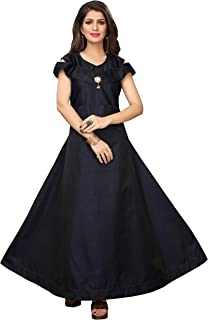 Women's Tafeta Anarkali Gown for Girl,Women - Blue