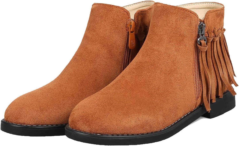 Vitalo Womens Side Zipper Flat Heel Ankle Boots Fringe Casual Walking Short Booties shoes