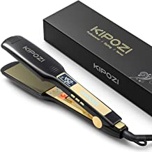 KIPOZI Professional Titanium Flat Iron Hair Straightener with Digital LCD Display, Dual Voltage, Instant Heat Up,1.75 inch wide black