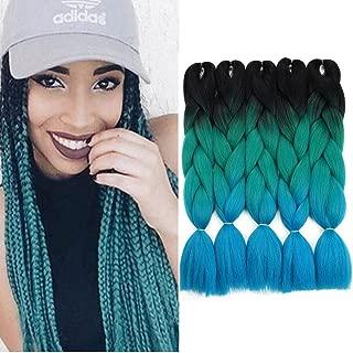 Crochet Braids Ombre Jumbo Braiding Hair Extensions Synthetic Yaki Straight 5 Pieces 2 Tone (Black Green Blue)