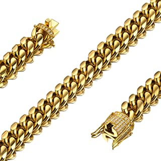 Jxlepe Mens Womens 10mm Miami Cuban Link Chain 18K Gold 10mm Stainless Steel Curb Boys Necklace with cz Diamond Light Duty Solid Chain Choker