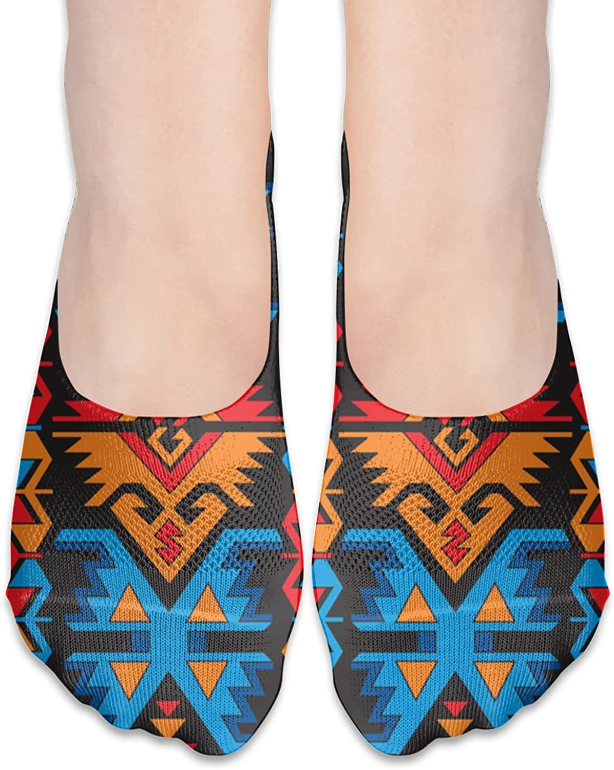 Retro Pattern With Rich Mexican Color Folkloric Unisex Adult Light Casual Liner Socks Non Slip No Show Ankle Socks Low Cut Invisible Socks