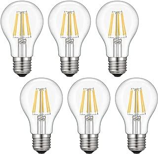 Kohree Dimmable Edison LED Bulb, Soft Warm White 2700K, 6W Vintage LED Filament Light Bulb, 60W Incandescent Equivalent, A19 E26 Base Lamp for Restaurant,Home,Reading Room, 6-Pack(NOT Daylight)