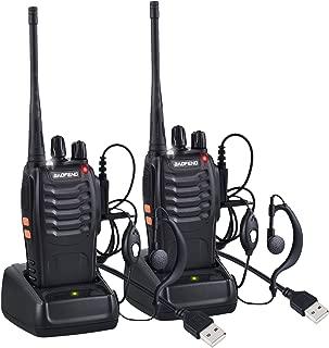 Neoteck Walkie Talkie 4 Piezas Walkie con Auriculares Originales 16CH de Banda /Única FM Transceptor de Mano con LED Recordatorio de Voz para Campo Bicicleta y Senderismo