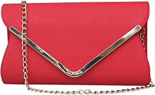 Womens Faux Leather Envelope Clutch Bag Evening Handbag Shouder Bag Wristlet Purse With Chain Strap.