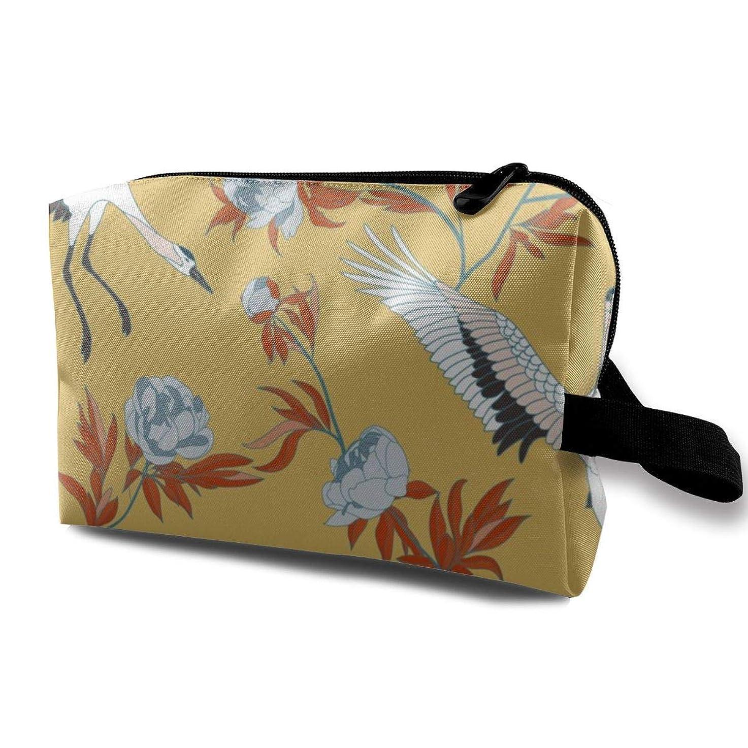 耐えるスペクトラム人鶴と牡丹 化粧品袋 トラベルコスメティックバッグ 防水 大容量 荷物タグ付き 旅行収納ポーチ アレンジケース パッキングオーガナイザー 出張 旅行 衣類収納袋 スーツケース整理 インナーバッグ メッシュポーチ 収納ポーチ